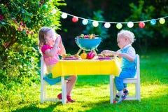 Partido de la parrilla del jardín para los niños imagenes de archivo
