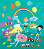 Partido de los niños con los juguetes y festival de la comida Imagen de archivo libre de regalías