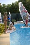 Partido de piscina Foto de archivo libre de regalías