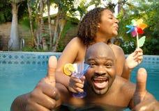 Partido de piscina del verano Foto de archivo