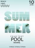 Partido de piscina del verano Modelo del cartel Ilustración del vector fotografía de archivo