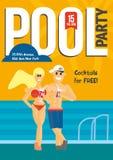 Partido de piscina Plantilla para el diseño del cartel Fotos de archivo libres de regalías