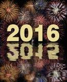 Partido 2016 de Silvester con el fuego artificial Foto de archivo libre de regalías
