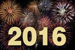 Partido 2016 de Silvester con el fuego artificial Fotos de archivo libres de regalías