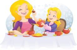 Partido de té en el día de madre Stock de ilustración