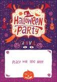 Partido de Víspera de Todos los Santos Cartel, tarjeta o fondo de Halloween para la invitación del partido de Halloween Fotografía de archivo libre de regalías