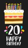 Partido de vinte anos do cartão 20 do bolo do feliz aniversario Fotos de Stock