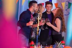 Partido del Año Nuevo con los amigos Foto de archivo