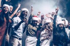 Partido del Año Nuevo con los mejores amigos Imagenes de archivo