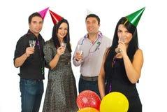 Partido del Año Nuevo de los amigos Imagen de archivo