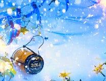 Partido del Año Nuevo del arte 2014 con champán Imagen de archivo libre de regalías