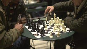 Partido del ajedrez del Central Park (4 de 4) almacen de video
