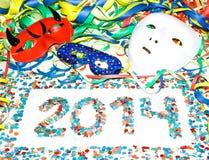 Partido del confeti de las flámulas de las máscaras del carnaval 2014 Imagen de archivo libre de regalías