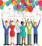 Partido del feliz cumpleaños stock de ilustración