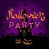 Partido del feliz Halloween en fondo del violette stock de ilustración