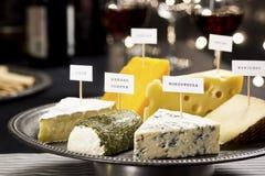 Partido del queso y de la degustación de vinos Imágenes de archivo libres de regalías