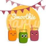 Partido del Smoothie de las frutas Jugo anaranjado, verde y de la baya Diverso menú fresco de la bebida para la vida sana Fotografía de archivo libre de regalías