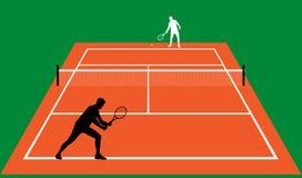 Partido del tenis en la arcilla Imagenes de archivo