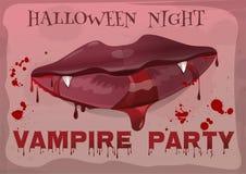 Partido del vampiro de Halloween Labios femeninos en sangre libre illustration