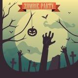 Partido del zombi de Halloween - concepto del cementerio Imagenes de archivo