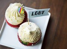 Partido delicioso del evento de la ayuda de la panadería LGBT del postre de las tortas imagen de archivo libre de regalías
