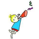 Partido desenhado mão do menino dos desenhos animados Imagem de Stock