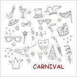 Partido dibujado mano, sistema del carnaval libre illustration