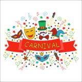Partido dibujado mano, sistema del carnaval stock de ilustración