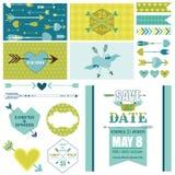 Partido do amor, do coração e das setas ajustado - para a decoração do partido, Scrapbo Fotografia de Stock Royalty Free
