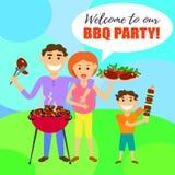 Partido do BBQ com família e no espeto, bife, grade Fotos de Stock Royalty Free