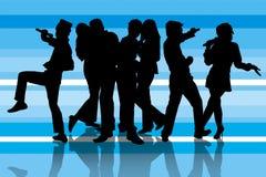 Partido do karaoke no azul Fotografia de Stock Royalty Free