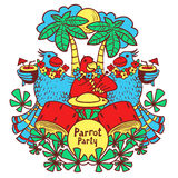Partido do papagaio do cocktail nos trópicos sob a palma Imagens de Stock
