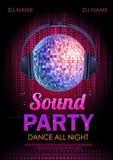 Partido do som do cartaz do disco Fotografia de Stock