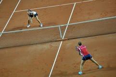 Partido doble del tenis de la mujer Imagen de archivo libre de regalías