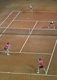 Partido doble del tenis de la mujer Foto de archivo libre de regalías
