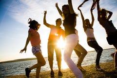 Partido en la playa Foto de archivo libre de regalías