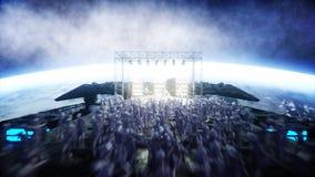 Partido estrangeiro da rocha no navio de espaço concert Jogo da guitarra, do baixo e do cilindro Fundo da terra Conceito engraçad Foto de Stock Royalty Free