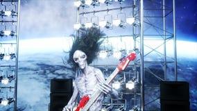 Partido estrangeiro da rocha no navio de espaço concert Jogo da guitarra, do baixo e do cilindro Fundo da terra Conceito engraçad ilustração stock