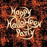 Partido feliz de Dia das Bruxas da mensagem no fundo do grunge Fotografia de Stock Royalty Free