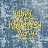 Partido feliz de Dia das Bruxas da mensagem no fundo do grunge Vetor Illust Fotos de Stock