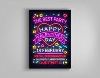 Partido feliz del cartel del día del ` s de la tarjeta del día de San Valentín Tipografía de neón de la plantilla del diseño, señ Fotografía de archivo libre de regalías