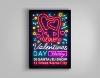 Partido feliz del cartel del día del ` s de la tarjeta del día de San Valentín Tipografía de neón de la plantilla del diseño, señ Fotos de archivo libres de regalías