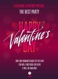 Partido feliz del día de tarjetas del día de San Valentín Invitación para el aviador, cartel, tarjeta de felicitación Foto de archivo