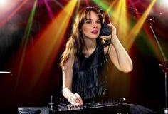 Partido femenino DJ Foto de archivo libre de regalías