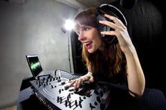 Partido femenino DJ Imagen de archivo libre de regalías