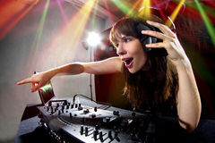 Partido femenino DJ fotos de archivo