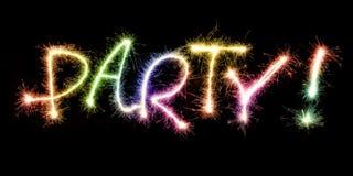 Partido festivo de la palabra hecho de los fuegos artificiales de las chispas Imagen de archivo