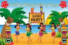 Partido hawaiano de Luau Imágenes de archivo libres de regalías