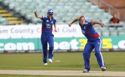 Partido internacional del grillo del T20 de las mujeres de Inglaterra v las Antillas Imagen de archivo libre de regalías
