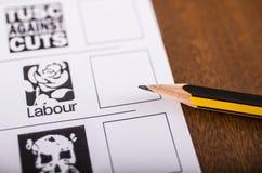 Partido laborista en una papeleta electoral Fotos de archivo libres de regalías